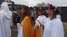Circle of druids perform pagan ceremony for the spring equinox