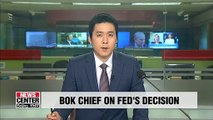 BOK chief says Fed's decision eased uncertainties