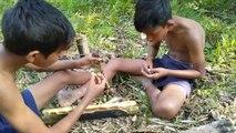 Cooking eel fish in papaya tree- Eating delicious eel fish- primitive technology