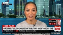 """Angela Rye speaking on O'Rourke: """"128,000 unique contributions made"""" on day one. #Election2020 #ORourke #News #CNN #AngelaRye #Breaking"""