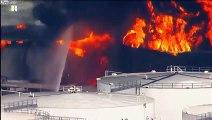 L'incendie de la raffinerie à Deer Park aux Etats Unis vu d'hélicoptère
