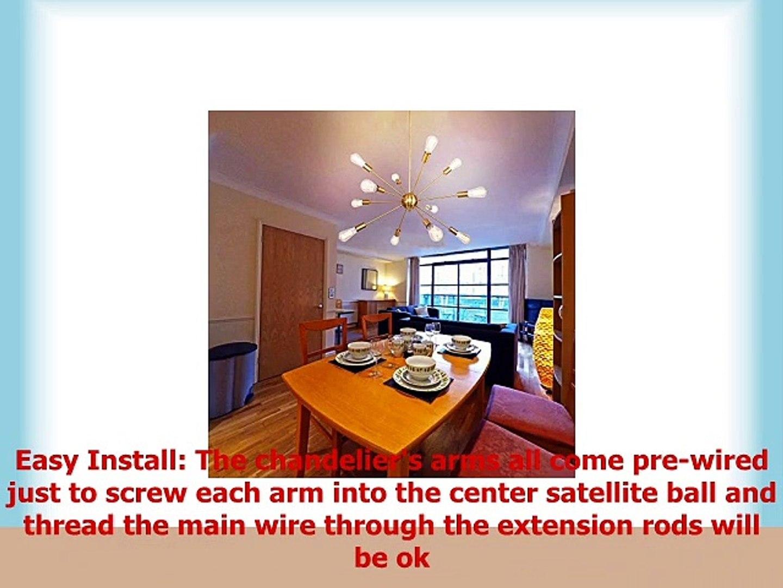 Sputnik Chandelier 12 Lights Modern Brushed Brass Ceiling Light Fixture Gold Industrial