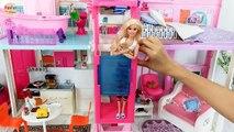 Barbie Maison de poupée Rose Passeport de 3 étages Maison de ville Matin Rumah Barbie Pagi de la Casa de Barbie Manhã