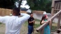 Pastor Jimenez shoots Bow and Arrow after Preaching @ Verity Baptist Church Boise