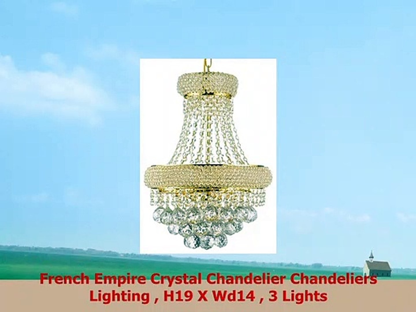 French Empire Crystal Chandelier Chandeliers Lighting H19 X Wd14 3 Lights