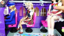 Monster High Bus Scolaire Pour poupée Barbie et Disney Princesses Bus sekolah boneka Barbie Ônibus escolar