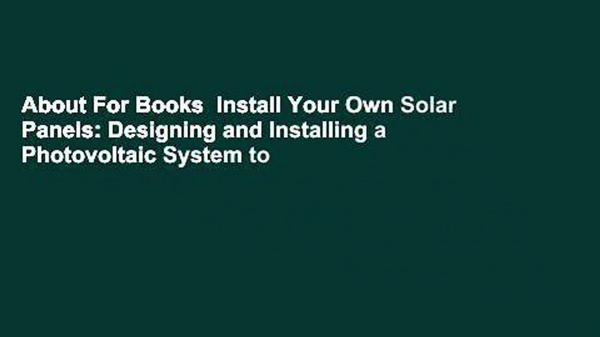 About For Books Install Your Own Solar Panels Designing And