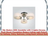 YL Modern 60W chandelier with 3 Lights Chrome Flush Mount Chandeliers Modern Ceiling