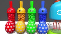 Learn Colors with Bunny Mold and Microwave Toy Fruits Squishy Ball Animals for Kids Children