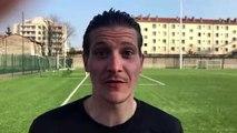R3 (15ème journée)  - Josselin ARANDEL réagit après la victoire de l'ES TRINITE contre le CALUIRE SC