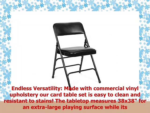 5pc XL Series Folding Card Table and Triple Braced Vinyl Padded Chair Set Commercial