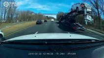 Car Carrier Loses its Cargo