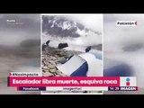 Escalador esquiva roca gigante que le cayó mientras subía montaña | Noticias con Yuriria
