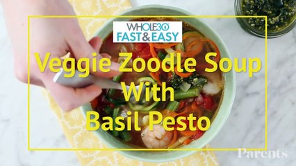 Veggie Zoodle Soup With Basil Pesto