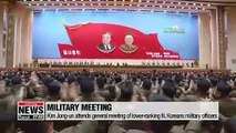 """N. Korean leader attends military meeting, calls for """"golden age"""" in """"military construction"""""""