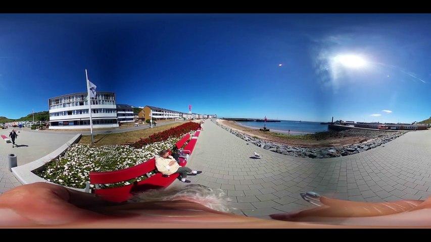 Helgoland Landungsbrücke, Südpromenade, Hummerbuden bis Scheibenhafen-360 Grad Video