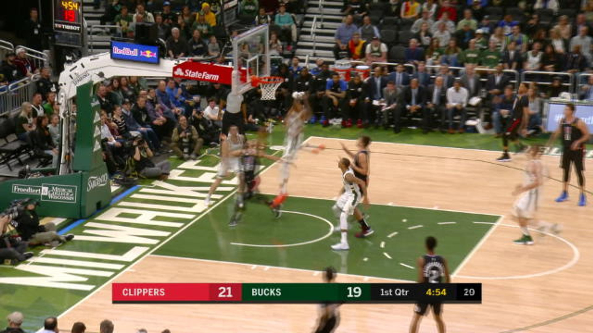 It's a bird, it's a plane! - Giannis with huge block to set up Bucks attack