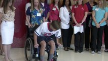 Boy paralyzed while playing lacrosse takes first steps