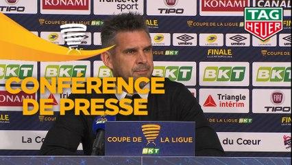 Conférence de presse RC Strasbourg Alsace - EA Guingamp (0-0 a. p. 4 tab à 1) : Thierry LAUREY (RCSA) - Jocelyn GOURVENNEC (EAG) - 2018/2019