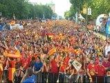 Nervios y alegría desbordada en los aficionados españoles