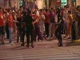 Celebración espontánea en la plaza de Cibeles