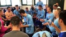 Coupe du Rhône (8ème de finale) – La joie du vestiaire de l'ES GENAS après la qualification contre l'O. BELLEROCHE