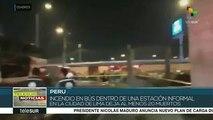 Perú: mueren 20 personas al incendiarse un autobús en Lima