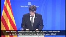 """Puigdemont explica que Jané, Munté, Ruiz y Vidal han querido """"dar un paso al lado"""""""