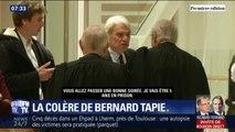 """""""Contents, ça va? Je vais être 5 ans en prison."""" Bernard Tapie interpelle les avocats des parties civiles à la sortie de son procès"""