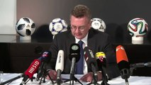 German football federation president Reinhard Grindel announces his resignation