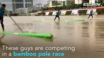 Sport - Running of bamboo poles a popular sport in China