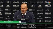 """Zinedine Zidane : """"c'est une saison très compliquée"""""""