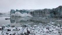 Un énorme glacier s'effondre et provoque une énorme vague qui fait fuir les touristes