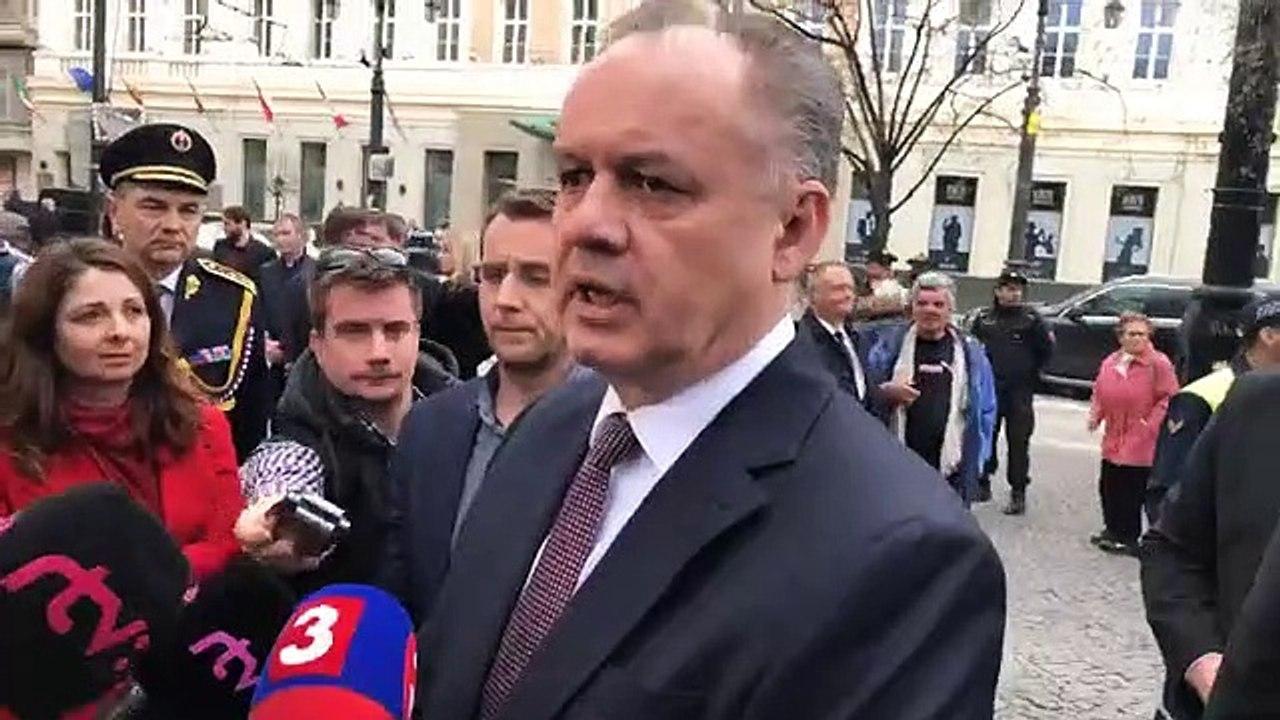 ZÁZNAM: Prezident A. Kiska po pietnej spomienke oslobodenia Bratislavy