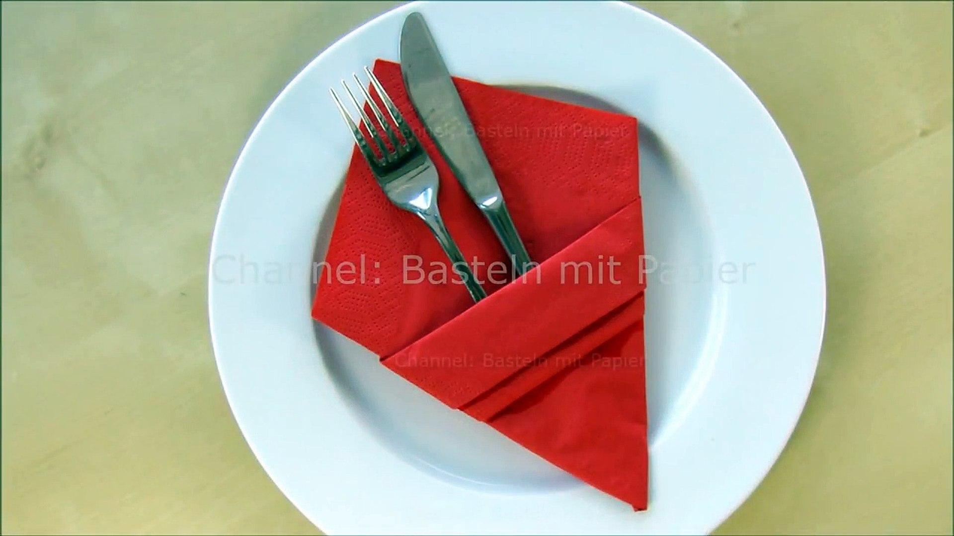 Servietten Falten Bestecktasche Einfache Diy Tischdeko Basteln Mit Papier Servietten Hochzeit Video Dailymotion