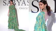 Alia Bhatt looks beautiful in paisley print ruffled saree at Sabyasachi event;Watch video | Boldsky
