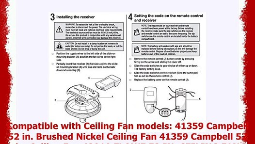 Anderic Replacement for FAN51T Remote with Wall Mount for Hampton Bay on