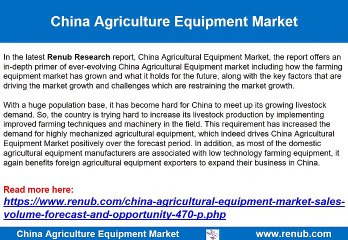 China Agriculture Equipment Market Opportunities
