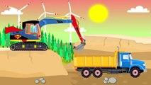 Tracteur Drawing | pelle rétrocaveuse, camions, bulldozer - Vidéo pour les enfants | Tracteur de bande dessinée et Livre de conte de fées