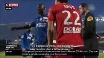 La colère froide de Prince Gouano victime d'insultes racistes hier soir pendant le match Dijon-Amiens qui a du être interrompu plusieurs minutes