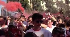 Sevilla-Betis: La Espectacular Salida del Sevilla de su hotel de concentración