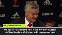 (Subtitled) Solskjaer blames CL schedule for making changes to MU squad against West Ham