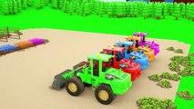 Les camions de pelles qui nourrir des vaches, apprendre les animaux de la ferme avec des véhicules