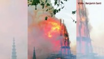 Les images de l'effondrement de la flèche de Notre-Dame de Paris, ravagée par un terrible incendie
