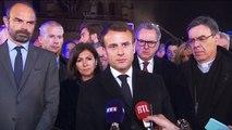 """Regardez Emmanuel Macron très ému hier soir: """"je vous le dis très solennellement: cette cathédrale nous la rebâtirons, tous ensemble"""