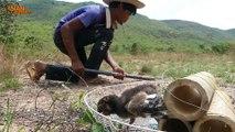 Primitive Technology: Man Make Build Deep Hole Underground Snake Trap Using Fan Electric & Chicken