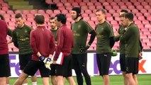 Arsenal train in Naples as Napoli UEL test awaits