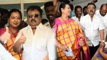 Vijayakanth: கூலிங் கிளாஸ் போட்டுக் கொண்டு வந்து மனைவியுடன் ஓட்டு போட்ட விஜயகாந்த்- வீடியோ
