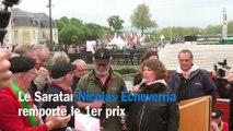 Nicolas Echeverria remporte le 1er prix au concours du meilleur jambon fermier lors de la Foire au jambon à Bayonne