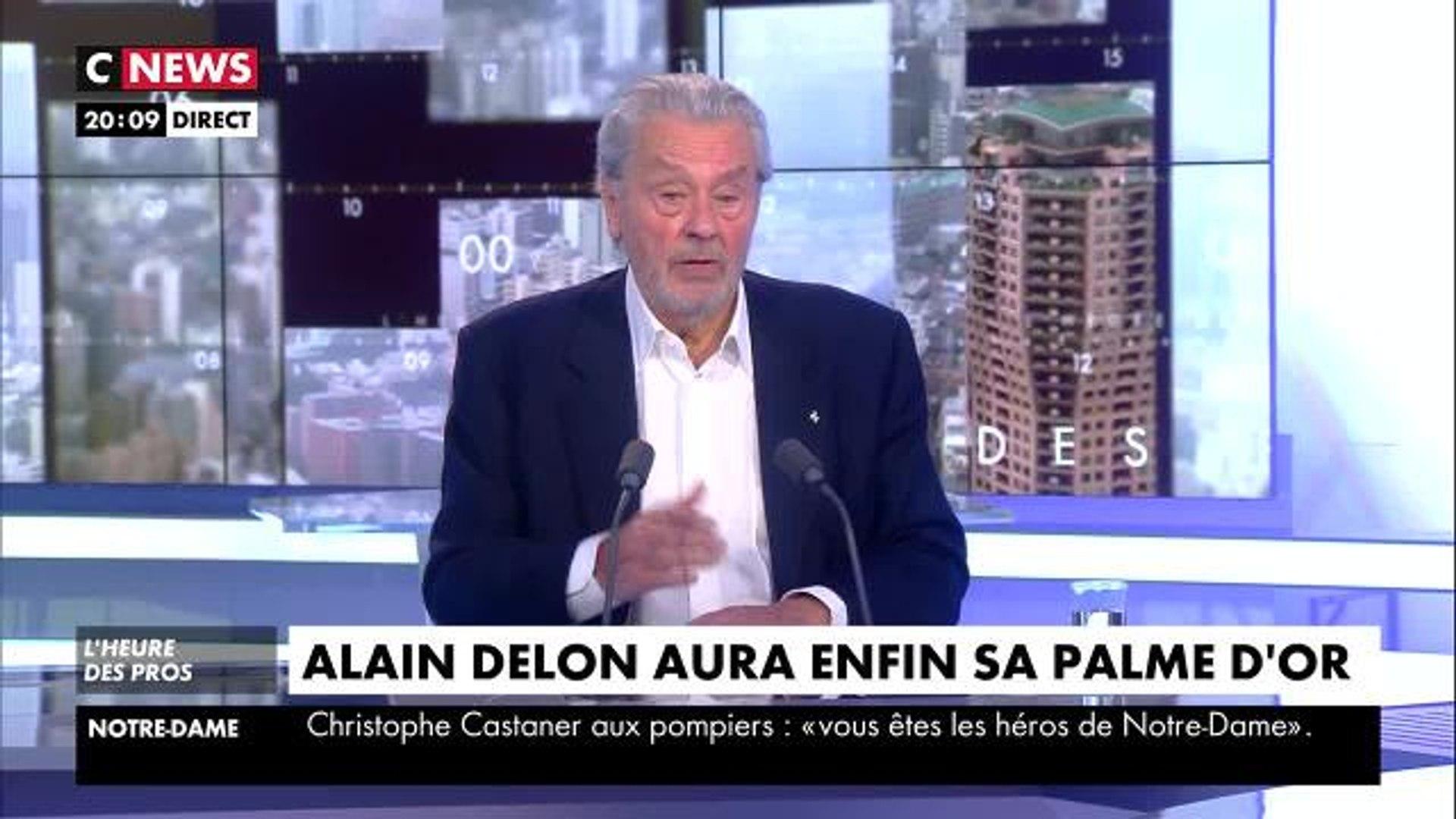 Festival de Cannes 2019. Alain Delon réagit à sa Palme d'Or honorifique dans CNEWS, jeudi 18 avril